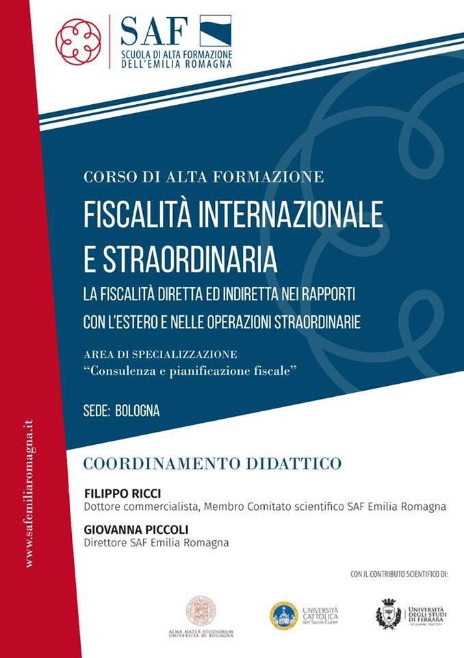 Corso 29.11.2018 al 25.02.2020 - Alta Formazione in tema di Fiscalità Internazionale e Straordinaria