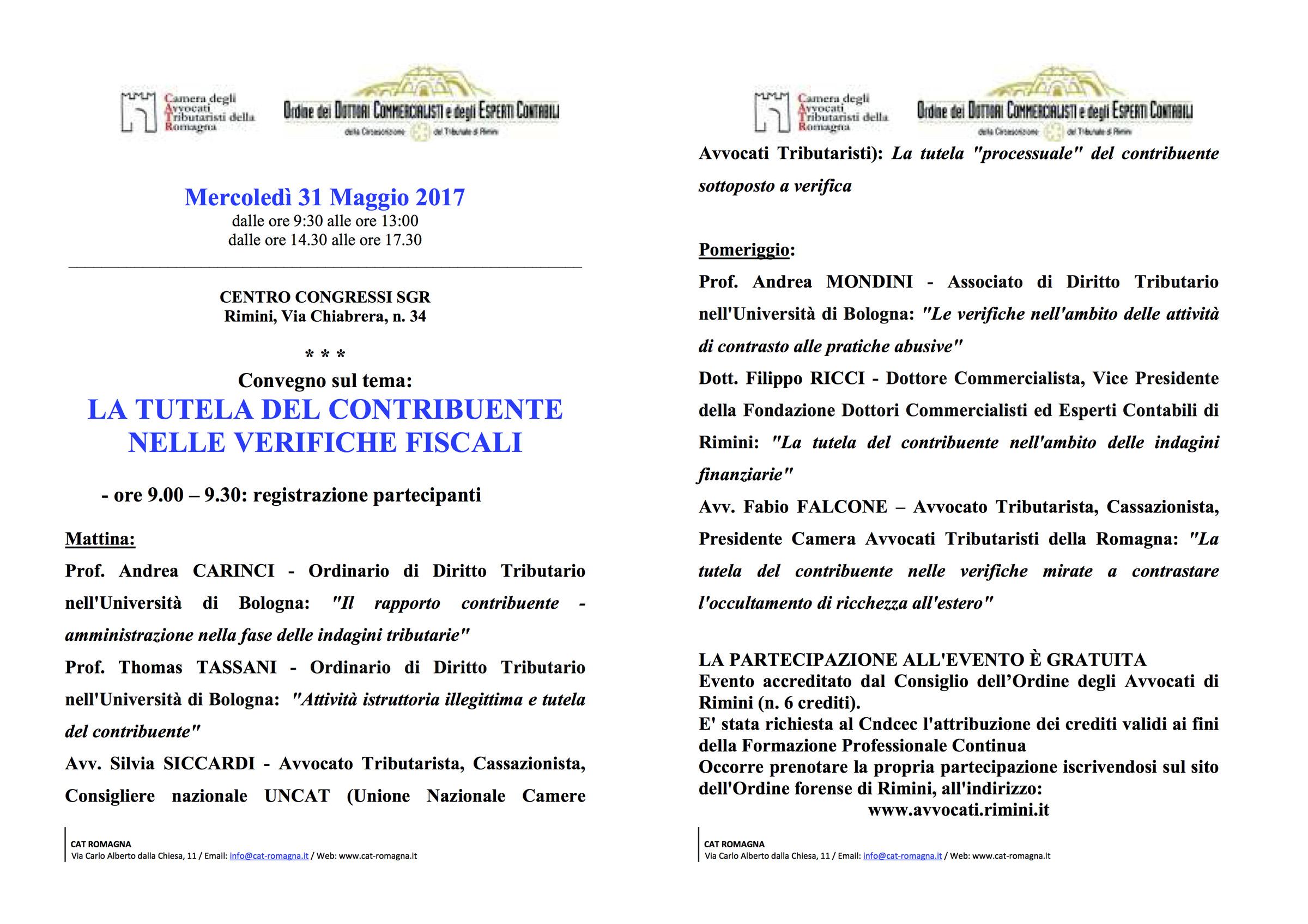 Convegno 31-05-2017 - La tutela del contribuente nelle verifiche fiscali_relatore Filippo Ricci, Dottore Commercialista